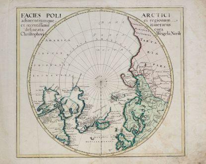 Antique Maps, Weigel, North Pole, 1718: Facies Poli Arctici adiacentiumque ei regionum ex recentissimis itinerariis delineata cur Chrisophori Weigelii, Norib