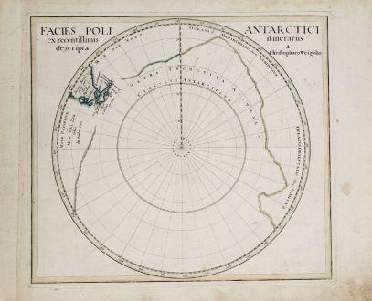 Antike Landkarten, Weigel, Pazifik, Südpol, 1718: Facies Poli Antarctici ex recentissimis itinerariis descripta a. Christophoro Weigelio