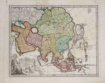Antique Maps, Weigel, Asian Continent, 1718: Nova Asiae tabula majori in minorem hanc formani reducta a Joh. Bapt. Homann