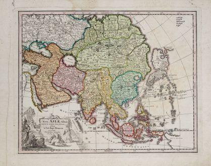 Antike Landkarten, Weigel, Asien Kontinent, 1718: Nova Asiae tabula majori in minorem hanc formani reducta a Joh. Bapt. Homann