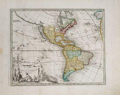 Antike Landkarten, Weigel, Amerika Kontinent, 1718: Novi Orbis sive Totius Americae cum Adiacentibus Insulis Nova exhibitio