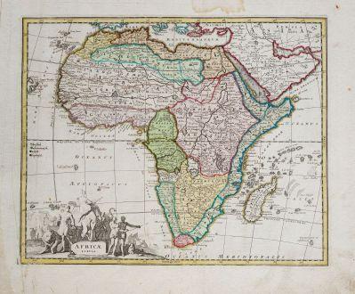 Antike Landkarten, Weigel, Afrika Kontinent, 1718: Africae Tabula