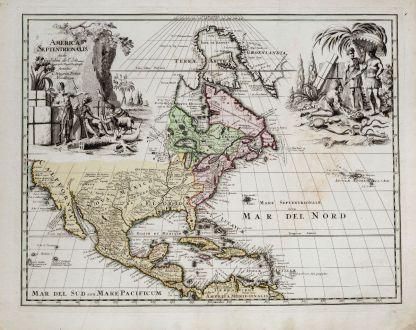 Antike Landkarten, Weigel, Nordamerika, 1718: America Septentrionalis Studio Guilielmi de l'Isle...