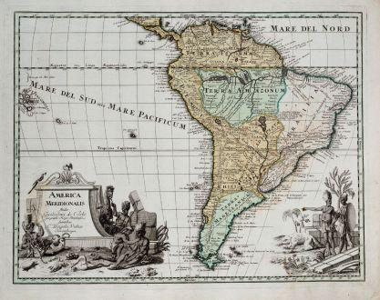 Antike Landkarten, Weigel, Südamerika, 1718: America Meridionalis Studio Guilielmi de l'Isle...