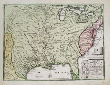 Antike Landkarten, Weigel, Nordamerika, Louisiana, 1730: Novissima Tabula Regionis Ludovicianae Gallice dictae la Louisiane...