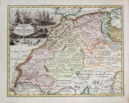 Antike Landkarten, Weigel, Nordafrika, Nordwestafrika mit Kanarischen Inseln: Africae Pars Superior Occidentalis