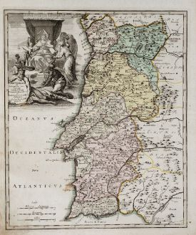 Antike Landkarten, Weigel, Spanien - Portugal, 1718: Portugallia ex deseriptione exactissima