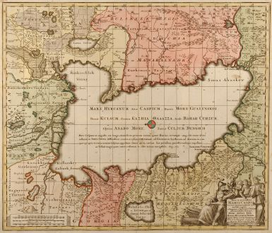 Antique Maps, Seutter, Middle East, Russia, Caspian Sea, 1740: Nova et accuratissima Maris Caspii hactenus maximam partem nobis non satis cogniti ac Regionum adjacentium delineat jussu...