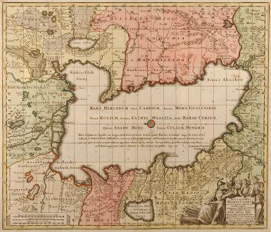 Antique Maps, Seutter, Middle East, Russia, Caspian Sea, 1740: Nova et accuratissima Maris Caspii hactenus maximam partem nobis non satis cogniti ac Regionum adjacentium delineat jussu...