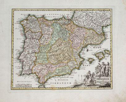 Antike Landkarten, Weigel, Spanien - Portugal, 1718: Hispaniae et Portugaliae Regna