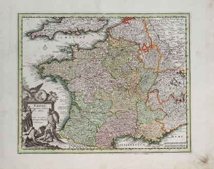Antique Maps, Weigel, France, 1718: Gallia Cum Provinciis insertis et adsitis