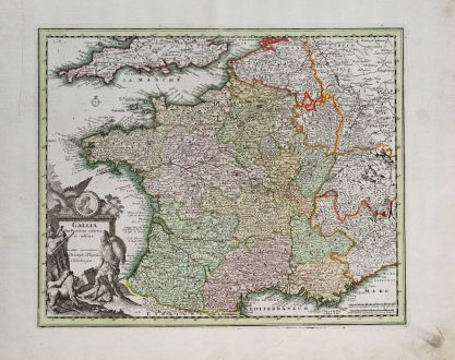 Antike Landkarten, Weigel, Frankreich, 1718: Gallia Cum Provinciis insertis et adsitis
