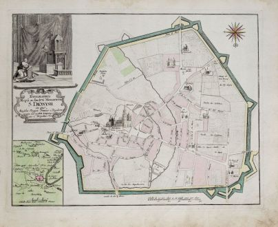 Antike Landkarten, Weigel, Frankreich, Paris, Saint-Denis, 1718: Topographia Regii ac Inclyti Monasterii S. Dionysii...