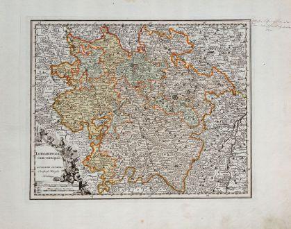 Antike Landkarten, Weigel, Frankreich, Lothringen, 1718: Lotharingia cum contiguis