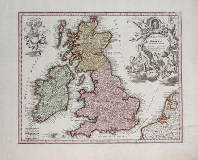 Antike Landkarten, Weigel, Britische Inseln, 1718: Anglia Scotia & Hibernia