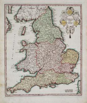 Antike Landkarten, Weigel, Britische Inseln, England, 1718: Anglia Cambdeni