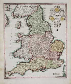 Antique Maps, Weigel, British Isles, England, 1718: Anglia Cambdeni