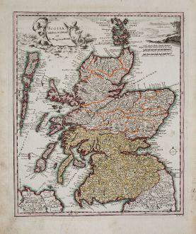 Antike Landkarten, Weigel, Britische Inseln, Schottland, 1718: Scotia Cambdeni et Sibbaldi