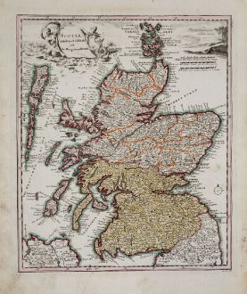 Antique Maps, Weigel, British Islands, Scotland, 1718: Scotia Cambdeni et Sibbaldi