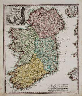 Antike Landkarten, Weigel, Irland, 1718: Regni Hiberniae accurata tabula…