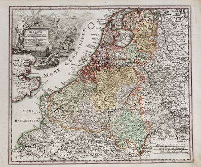 Antike Landkarten, Weigel, Benelux, Belgien, Niederlande, 1718: Belgium sive Inferior Germania in suas XVII provincias divisa jucta ex actissimam