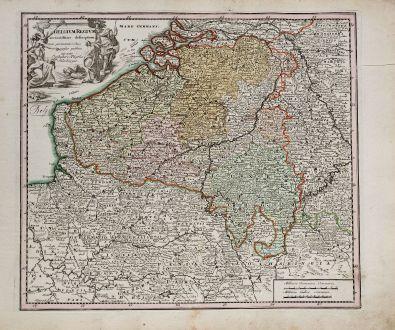 Antike Landkarten, Weigel, Belgien, 1718: Belgium Regium