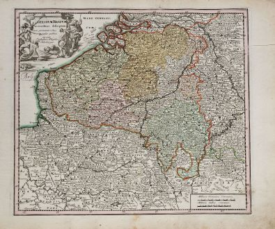 Antique Maps, Weigel, Belgium, 1718: Belgium Regium