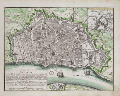 Antique Maps, Weigel, Belgium, Antwerp, 1718: Ichnographia Antverpiae