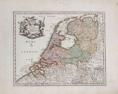 Antike Landkarten, Weigel, Niederlande, 1718: Belgii Foederati Provincia VII