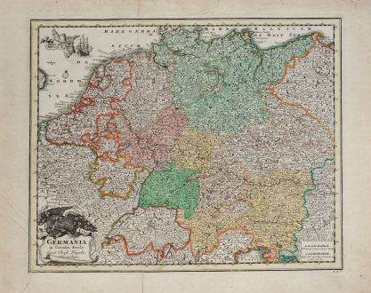 Antique Maps, Weigel, Germany, 1718: Germania in circulos divisa