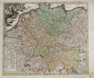 Antike Landkarten, Weigel, Deutschland, 1718: Imperium Germanicum