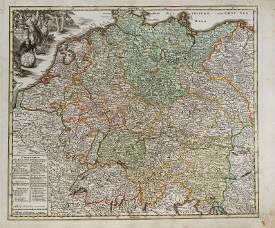 Antique Maps, Weigel, Germany, 1718: Imperium Germanicum