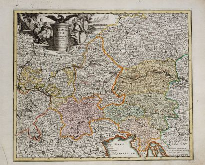 Antike Landkarten, Weigel, Österreich - Ungarn, 1718: Germaniae Austriacae Tabula Generalis