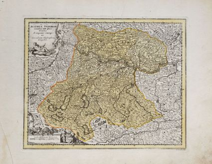 Antique Maps, Weigel, Austria - Hungary, Upper Austria, 1718: Austria Superior Secundum IIII. Quadrantes & regiones contiguas