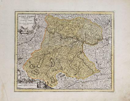 Antike Landkarten, Weigel, Österreich - Ungarn, Oberösterreich, 1718: Austria Superior Secundum IIII. Quadrantes & regiones contiguas