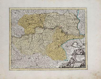 Antike Landkarten, Weigel, Österreich - Ungarn, Niederösterreich, 1718: Austria Inf. Secundum IIII. Quadrantes cum regionibus contiguis