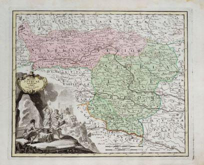 Antike Landkarten, Weigel, Österreich - Ungarn, Steiermark, 1718: Ducatus Styriae novissima tabula