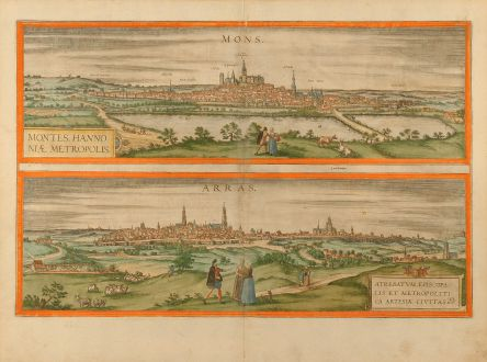 Antike Landkarten, Braun & Hogenberg, Frankreich, Arras, Belgien, Bergen, 1580: Mons. - Montes, Hannoniae Metropolis. / Arras. - Atrebatum, Episcopalis et Metropolitica Artesiae Civitas.