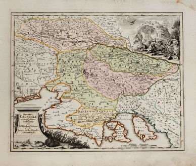 Antique Maps, Weigel, Balkan, Slovenia, Croatia, 1718: Ducatus Carnioliae accuratissima delineatio