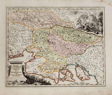 Antike Landkarten, Weigel, Balkan, Slowenien, Kroatien, 1718: Ducatus Carnioliae accuratissima delineatio