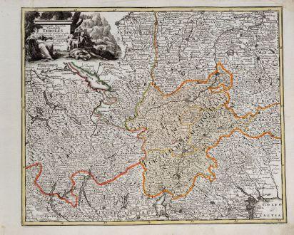 Antike Landkarten, Weigel, Österreich - Ungarn, Vorarlberg, Tirol, 1718: Principali Dignitate Comitatus Tirolis