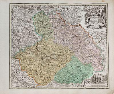 Antique Maps, Weigel, Czechia - Bohemia, Moravia, Bohemia, Silesia, 1718: Regnum Bohemia eique annexae Provinciae ut Ducatus Silesia Marchionatus Moravia et Lusatia