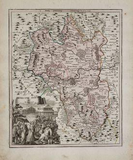 Antike Landkarten, Weigel, Tschechien - Böhmen, Oberfranken, Egerland, Eger, Cheb: Districtus Egranus per I. C. Mullerum