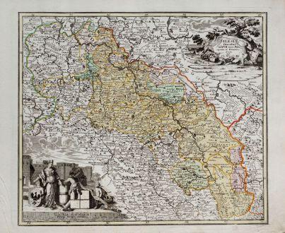 Antike Landkarten, Weigel, Polen, Breslau, Wroclaw, Schlesien, 1718: Silesiae Ducatus in XVII suos Principatus et Dominia