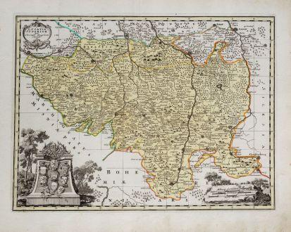 Antique Maps, Weigel, Germany, Saxony, Upper Lusatia, 1718: Lusatia Superior per Christoph. Weigelium
