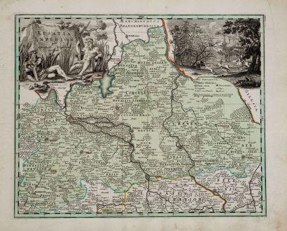 Antike Landkarten, Weigel, Deutschland, Brandenburg, Niederlausitz, 1718: Lusatia Inferior per Christoph. Weigelium