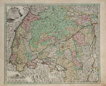 Antique Maps, Weigel, Germany, Baden-Württemberg, Swabia, 1718: Circulus Suevicus