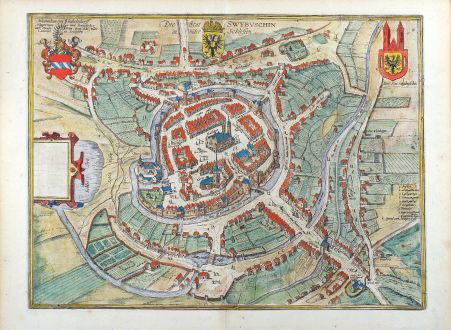 Antike Landkarten, Braun & Hogenberg, Polen, Swiebodzin, 1580: Die Stat Swybuschin in nider Schlesien