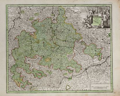 Antique Maps, Weigel, Germany, Baden-Württemberg, 1718: Ducatus Würtembergiae Circuli Suevici...