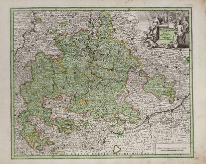 Antique Maps, Weigel, Germany, Baden-Württemberg, 1718: Ducatus Würtembergia Circuli Suevici...